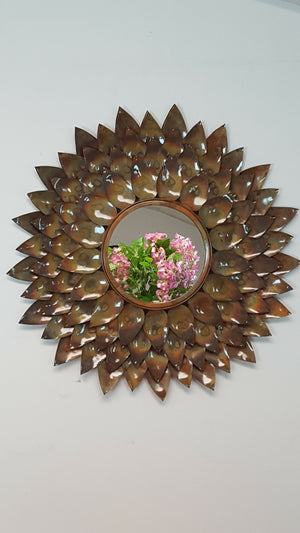 Oyna - Metal Round Tarnished Flower Petal Wall Mirror Simply Roka