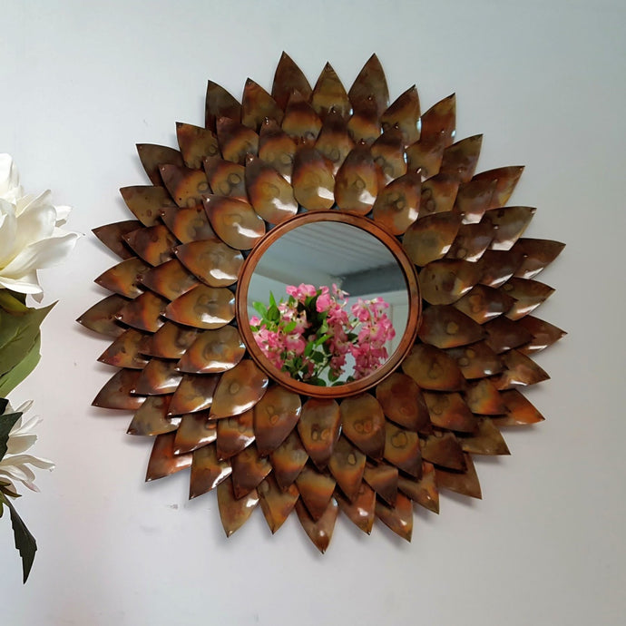 Oyna - Metal Round Tarnished Flower Petal Wall Mirror - Simply Roka