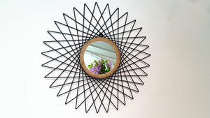 Cermin - Metal Round Geometric Wall Mirror Simply Roka