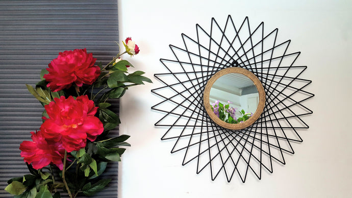 Cermin - Metal Round Geometric Wall Mirror - Simply Roka