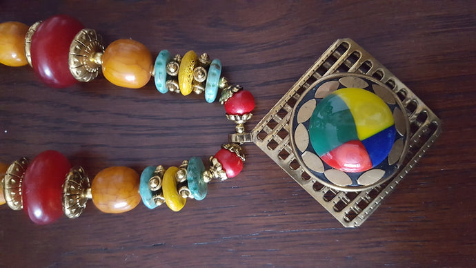 Multi-coloured Necklace and Earrings Set - #J807 - Simply Roka