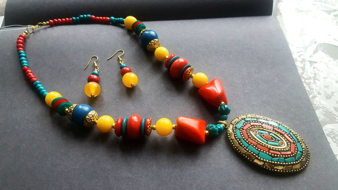Multi-coloured Necklace and Earrings Set - #J801