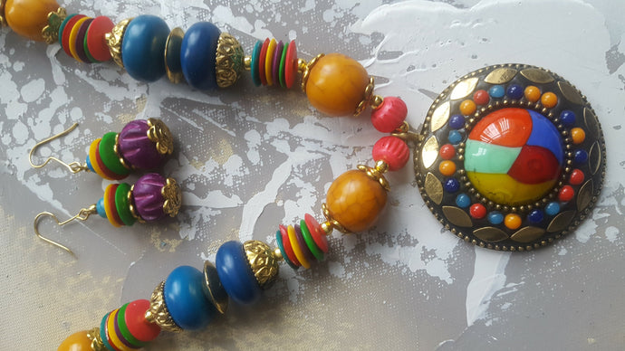 Multi-coloured Necklace and Earrings Set - #J809