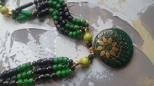Coloured Beaded Necklace - Green - #J803