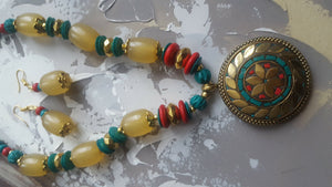 Colourful Necklace and Earrings Set - #J808