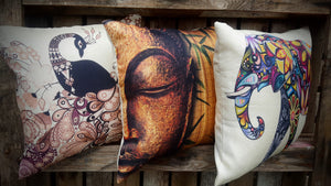 Cushion Cover - Colourful Elephant - Simply Roka