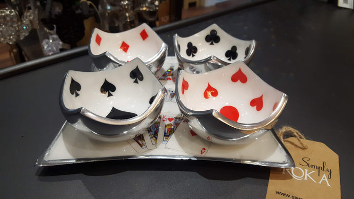 Deck of Cards - Set of Square Serving Platter with 4 Dip Bowls - Simply Roka