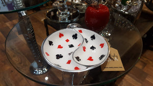 Deck of Cards - Enamelled Round Platter with 2 sections Simply Roka