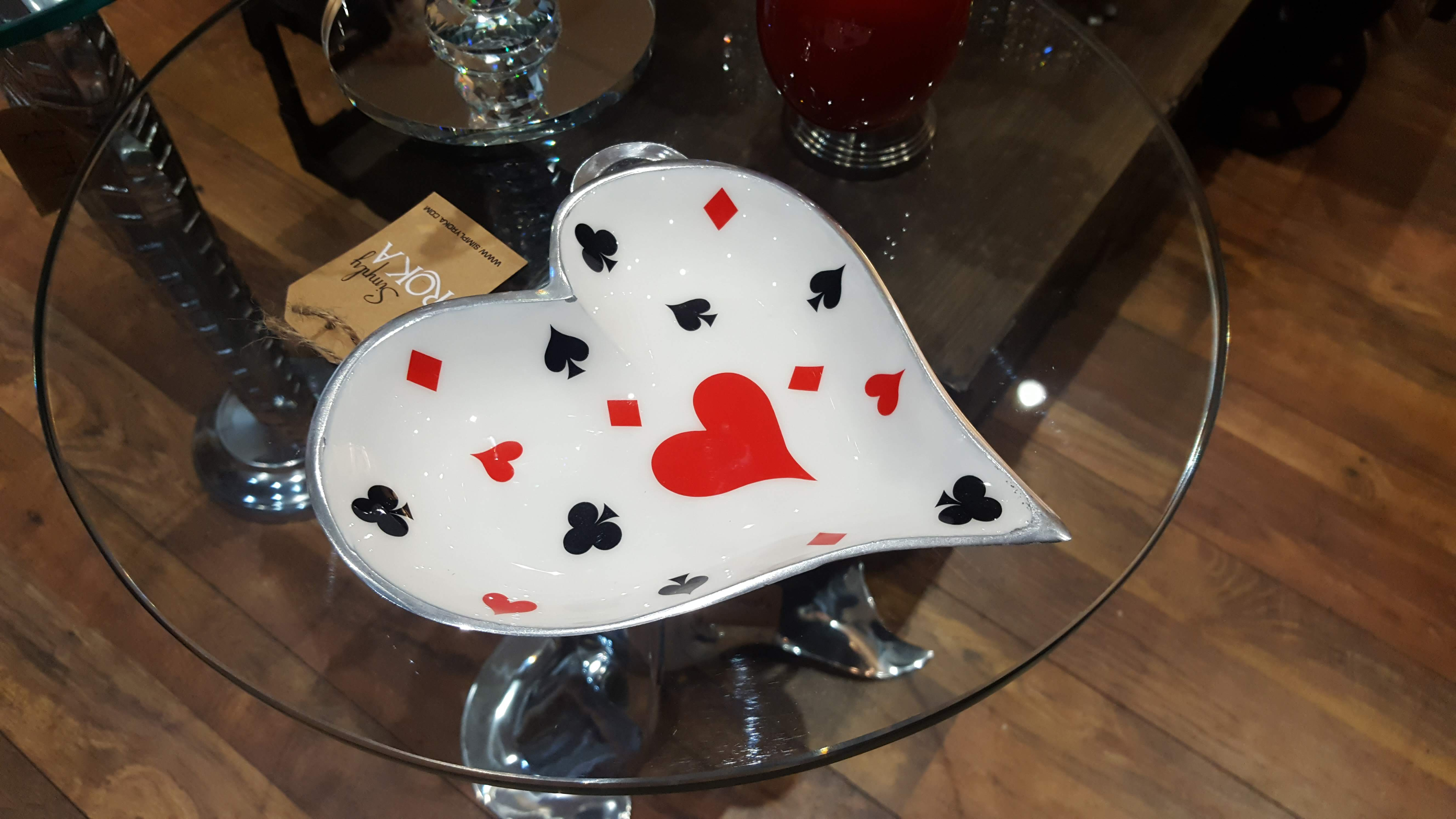 Deck of Cards - Enamelled Heart Platter Simply Roka