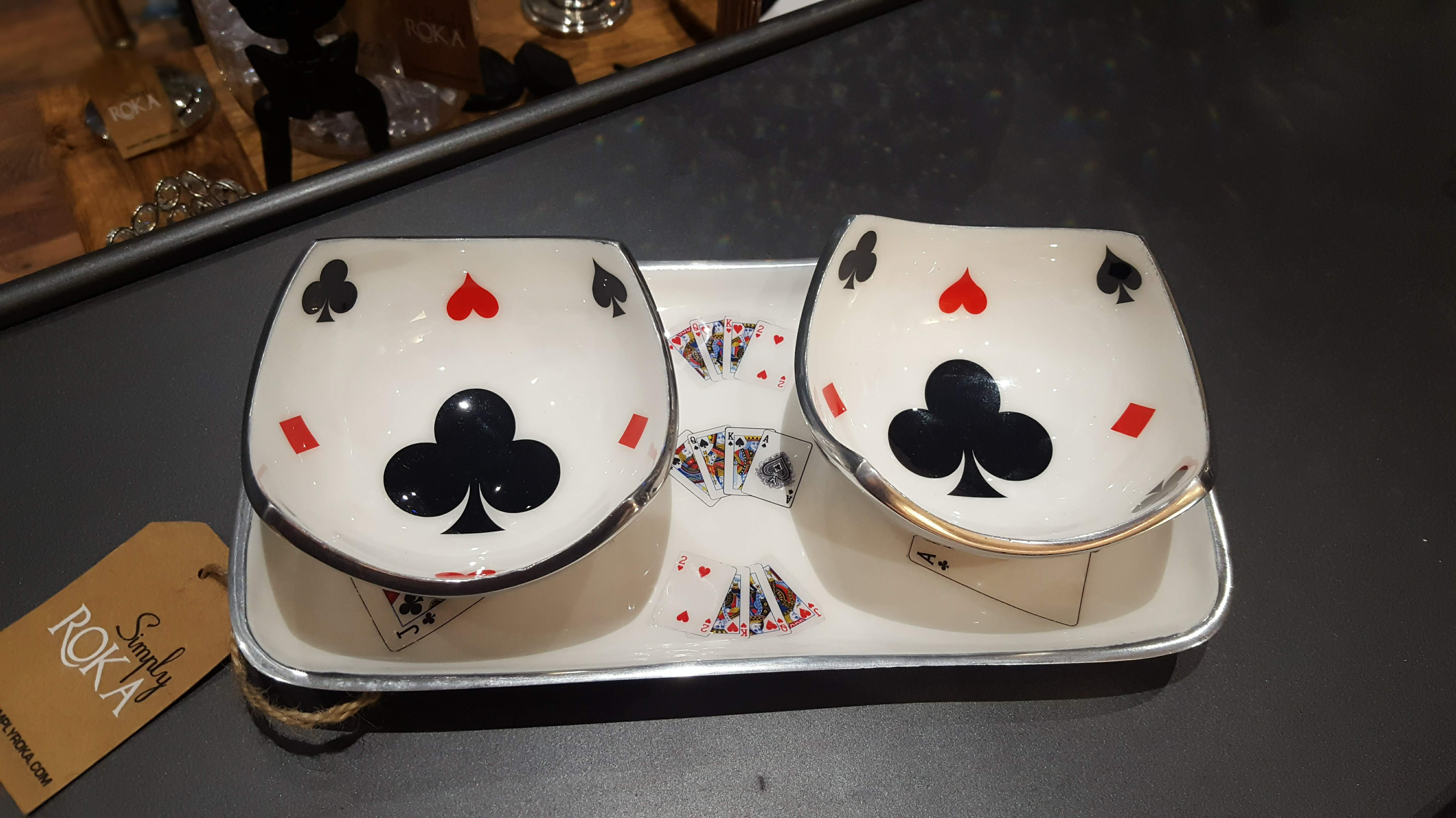 Deck of Cards - Enamelled Set of Rectangular Serving Platter with 2 Bowls Simply Roka