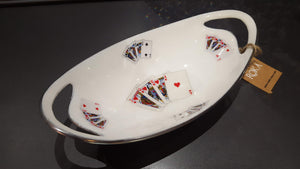 Deck of Cards - Enamelled Oval Serving Bowl with handles Simply Roka