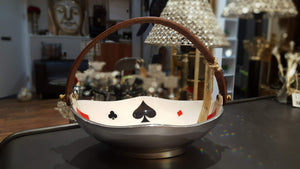 Deck of Cards - Oval Serving Bowl with brown handle - Simply Roka