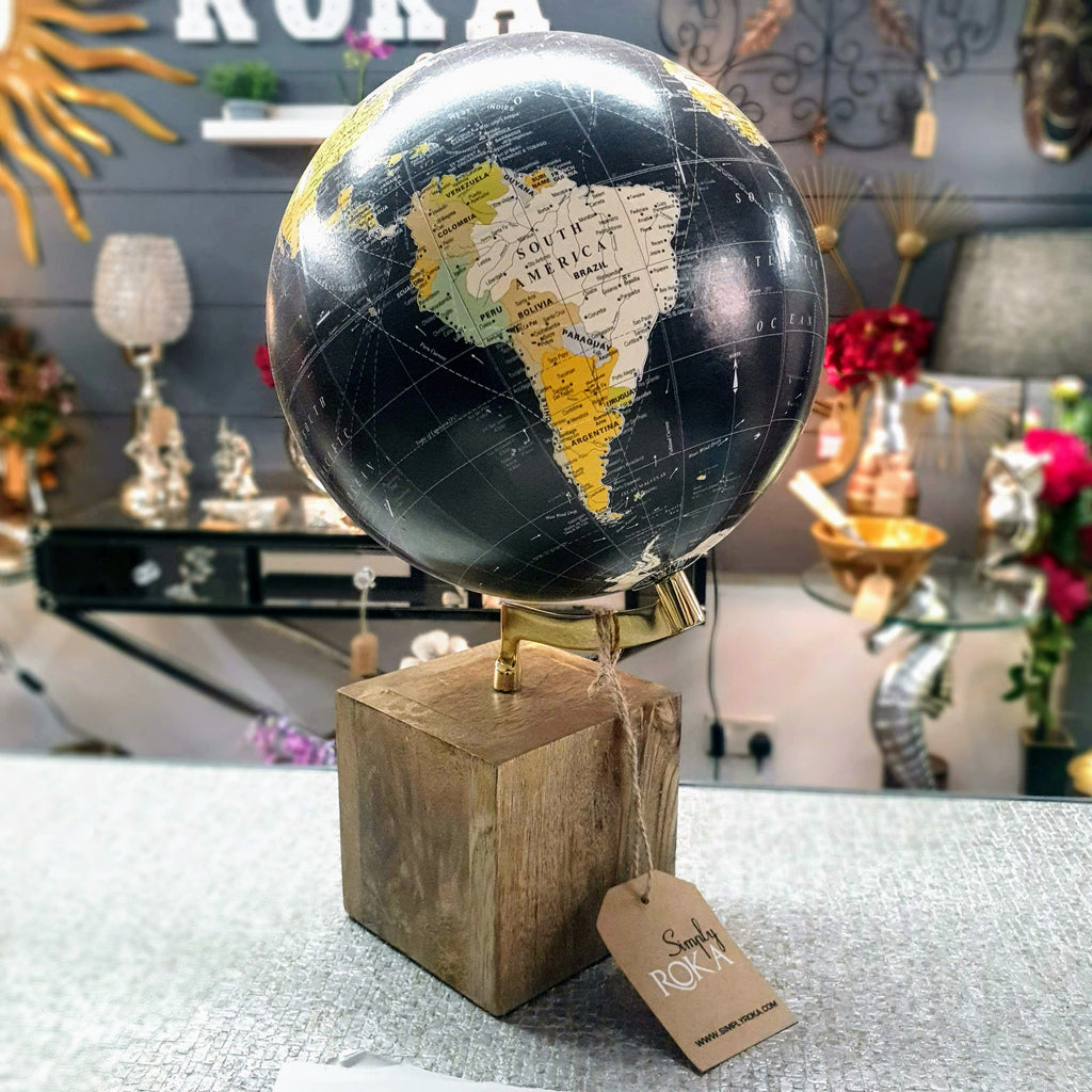 Vintage Look Globe with Wooden Base Simply Roka