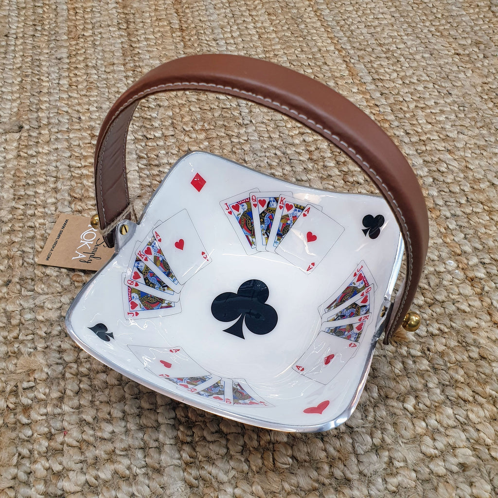 Deck of Cards - Square Enamelled Serving Bowl with brown handle Simply Roka