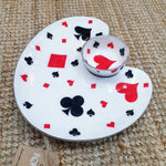 Deck of Cards - Enamelled Serving Platter with Dip Bowl Simply Roka
