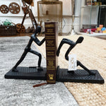 Black Finish Metal Pushing Men Bookend - Pair Simply Roka
