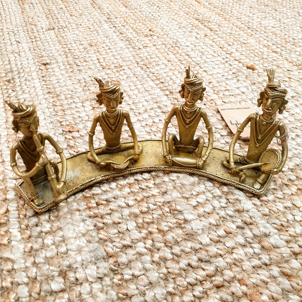 Brass Metal Tribal Musicians - Dhokra Art Simply Roka