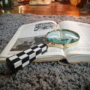 Brass Magnifying Glass - Black & White Chequered Handle Simply Roka