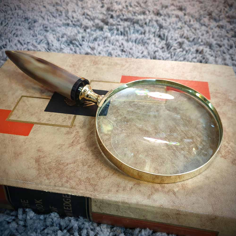 Brass Magnifying Glass - Horn Handle Simply Roka