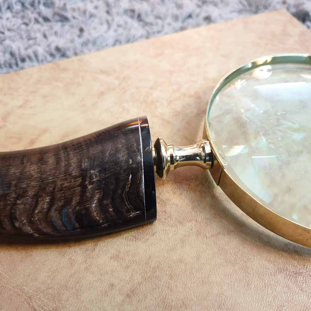 Brass Magnifying Glass - Curved Horn Handle Simply Roka