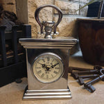 Tall Metal Polished  Mantel Clock Simply Roka