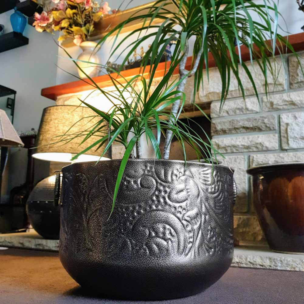 Antique Brown coloured Metal Planter in 2 sizes Simply Roka