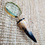 Brass Magnifying Glass - Large Curved Horn Handle Simply Roka