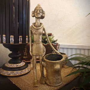 Brass Metal Figurine Stand - Tribal Dhokra Art Simply Roka