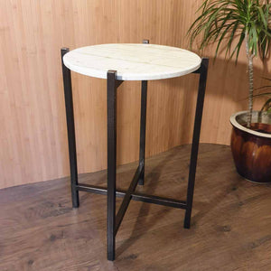 Round Side Table with Marble Stone Top Simply Roka