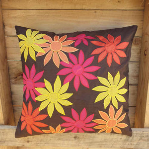 Cushion Cover - Brown with Colourful Flowers Simply Roka