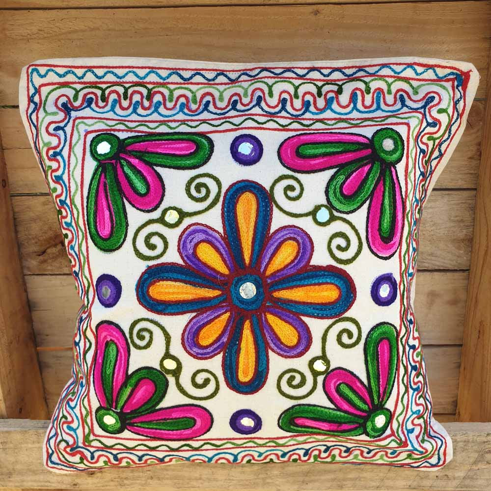 Cushion Cover - Embroidered Flower Simply Roka