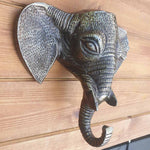 Medium Aluminium Metal Elephant Head / Hook Simply Roka