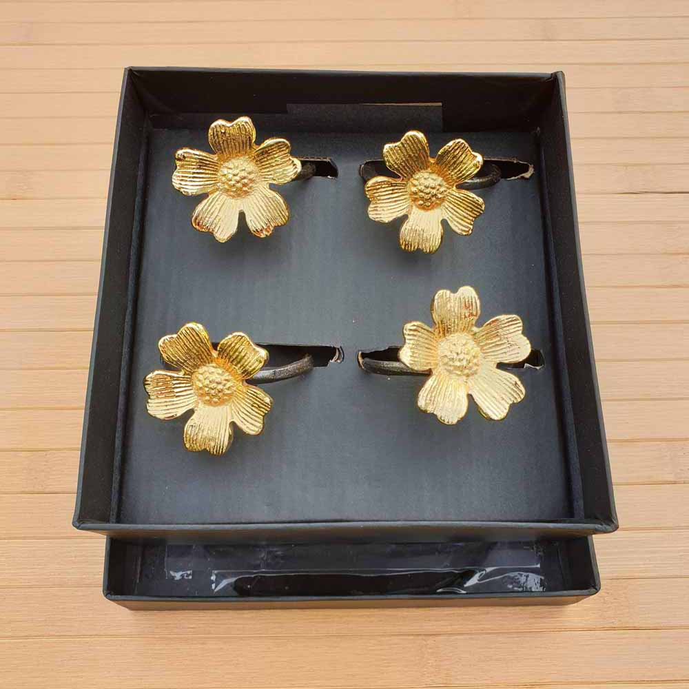 Gold Flower Napkin Rings (Set of 4) - Simply Roka