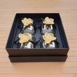 Aluminium Napkin Rings with Flower (Set of 4) Simply Roka