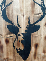 Large Wooden Stag Head Wall Art - Rustic