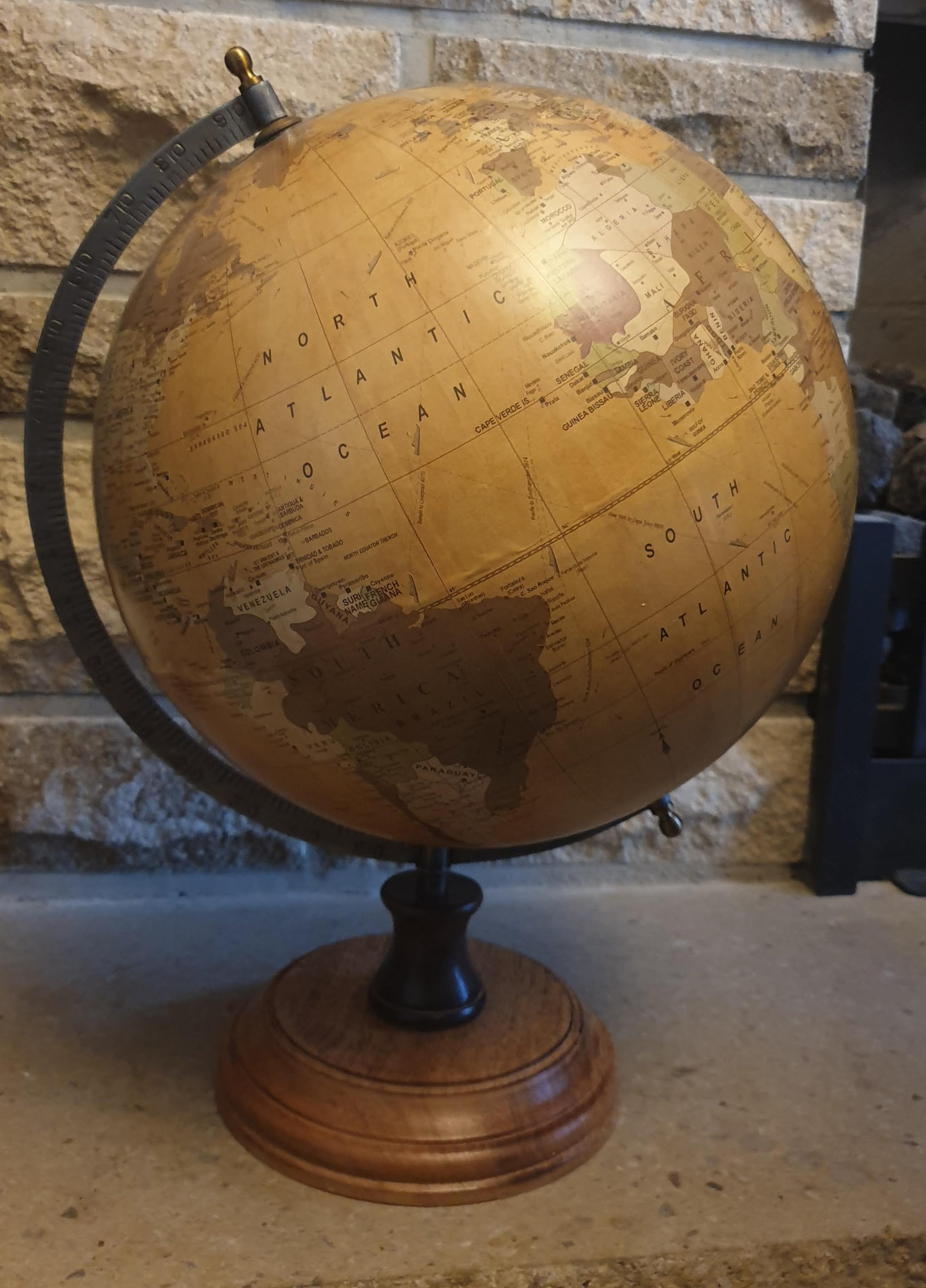 Large Vintage Look Globe with Round Wooden Base - 42cm high Simply Roka