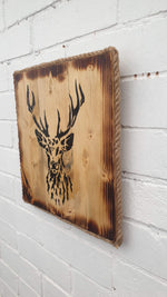 Square Wooden Stag Head Wall Art - light finish
