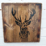 Square Wooden Stag Head Wall Art - dark finish