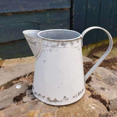 Mini White Distressed Metal Jug Planter - Simply Roka