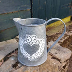 Small Galvanised Metal Heart Jug Planter - Simply Roka