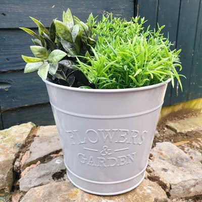 Grey Metal Bucket Planter - Simply Roka