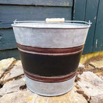 Galvanised Metal Bucket Planter - Black Strip - Simply Roka