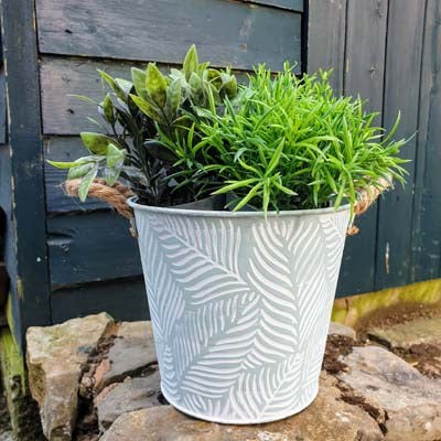 Mint Leaf Metal Bucket Planter - Simply Roka