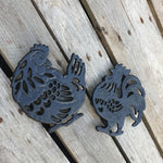 Set of Cast Iron Hen & Rooster Trivets - Simply Roka