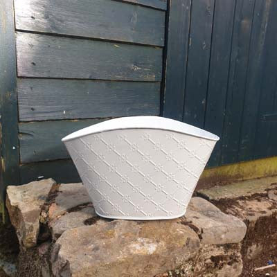 Metal Trough Planter - White Embossed - Simply Roka