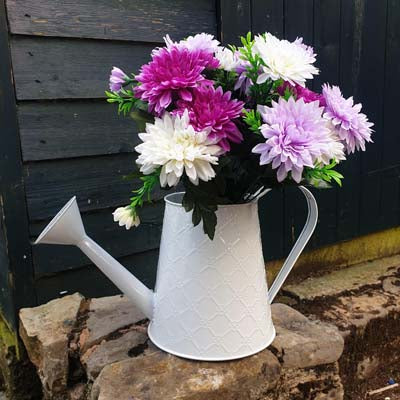 Metal Watering Can Style Planter - White Embossed - Simply Roka