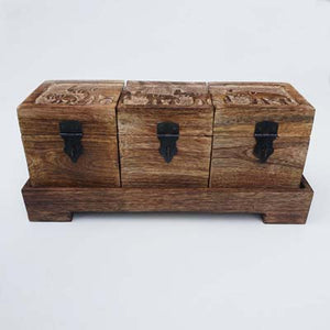 Set of Mango Wood Elephant Boxes - Simply Roka
