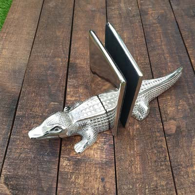 Aluminium Crocodile Alligator Bookend - Pair - Simply Roka