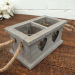 Grey Washed Wooden Heart Tealight Holder - Simply Roka