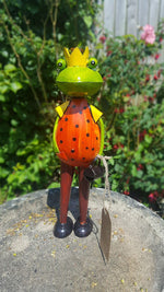 Set of 3 Colourful Metal Garden Frog Prince Ornament Figures Simply Roka